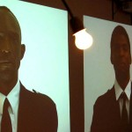 video projections of attendants • spinning lightbulb